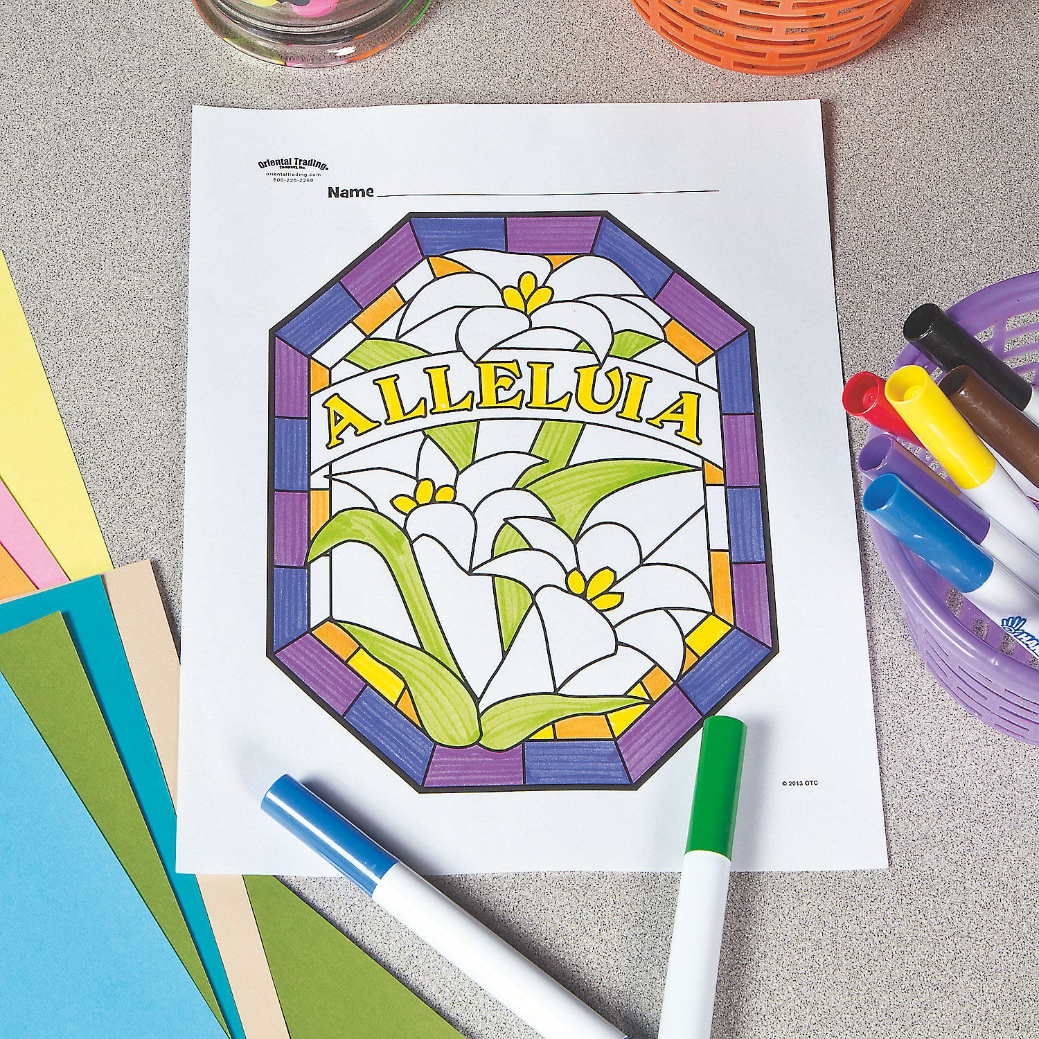 Easter Stained Glass Free Printable Coloring Page