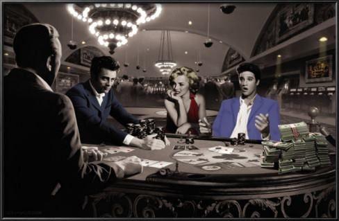 Art print poster//canvas Marilyn Monroe James Dean Elvis Presley Playing Poker