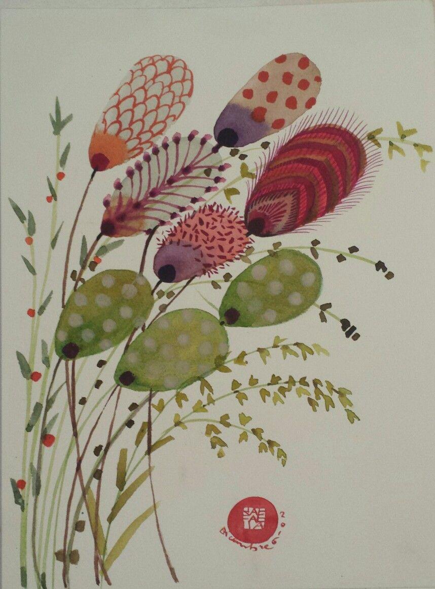Leaves  and flowers Original watercolor Www.maradidisegni.com  Maradidisegni@gmail.com