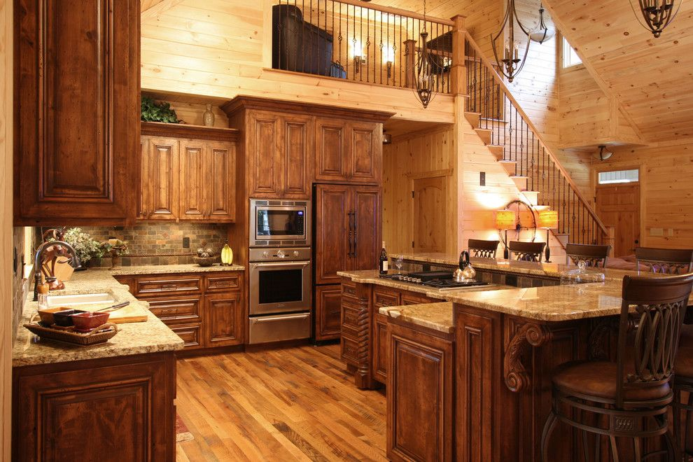 Cabinet color rustic cabin style traditional kitchen for Charlotte kitchen cabinets