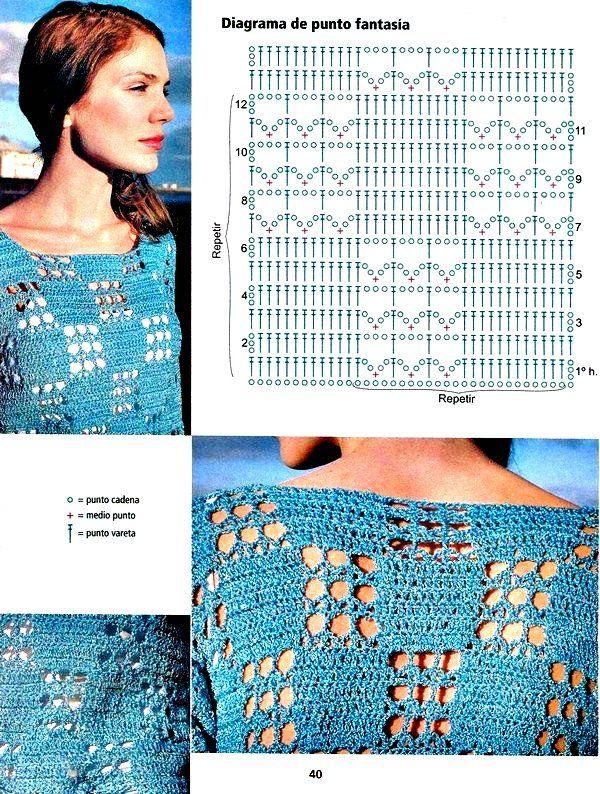 Jersey tunica cuadrados calados - Patrones Crochet   blusas crochet ...