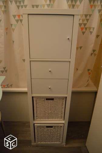 Etagère IKEA KALLAX Blanche Avec Portes Et Paniers Montrouge Cette - Bloc porte ikea