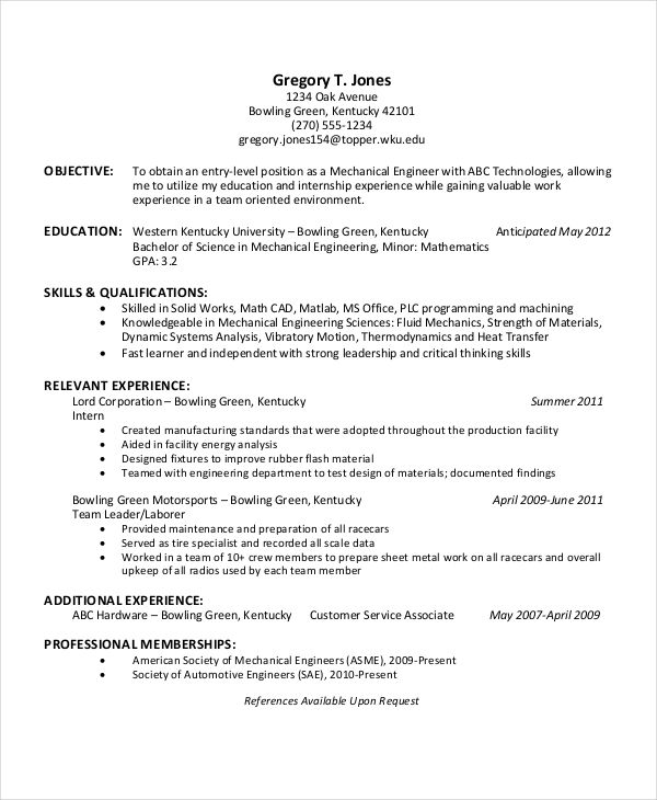 Entry Level Mechanical Engineering Resume Resume Format Engineering  Sample Resume Resume Template Free And Pdf