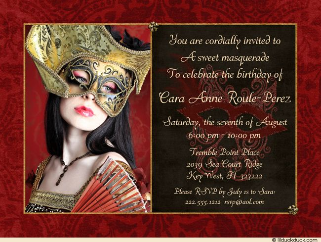 Photo Masquerade Birthday Invitation Personalize Colors
