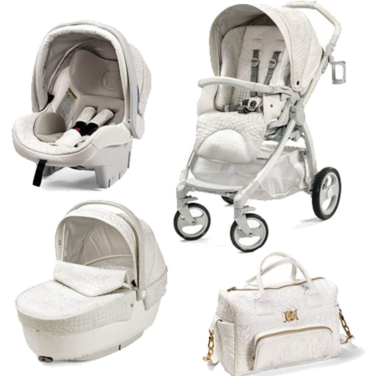 Young Versace Baby White Stroller And Travel Set Young Versace Baby White Travel Set Baby Kinderwagen