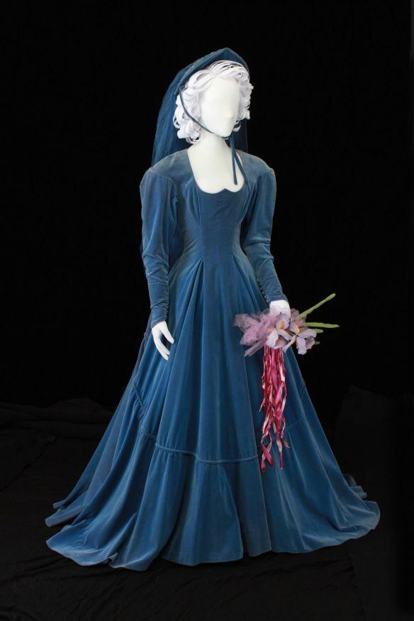 blue velvet wedding gown worn by Ruby Maeker of Lubbock, TX, 1948