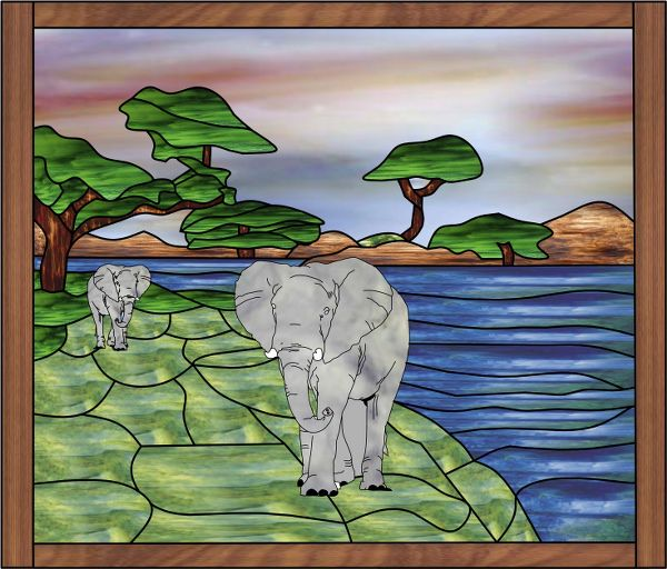 Cartoon Stained Glass Elephant With Frame Decorative