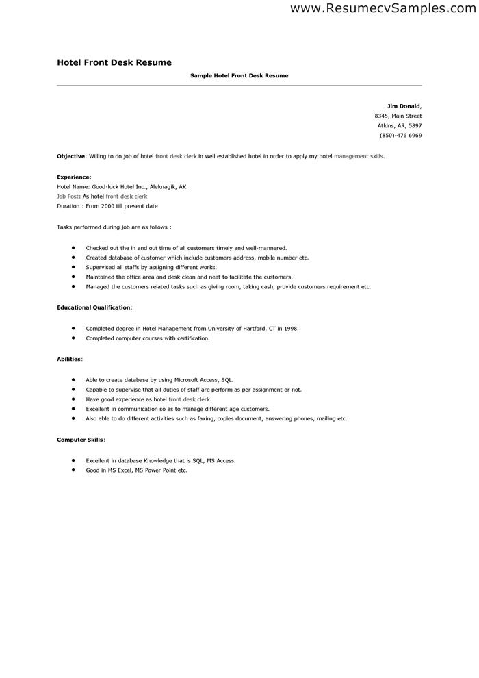 Clerical Resume Sample From Sample Hotel Desk Clerk Resume Unfor