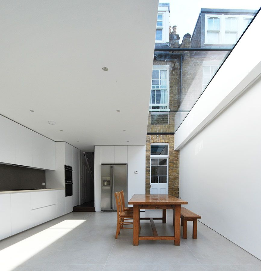 Terraced house extension queens park porcelain tiles for Minimalist house london
