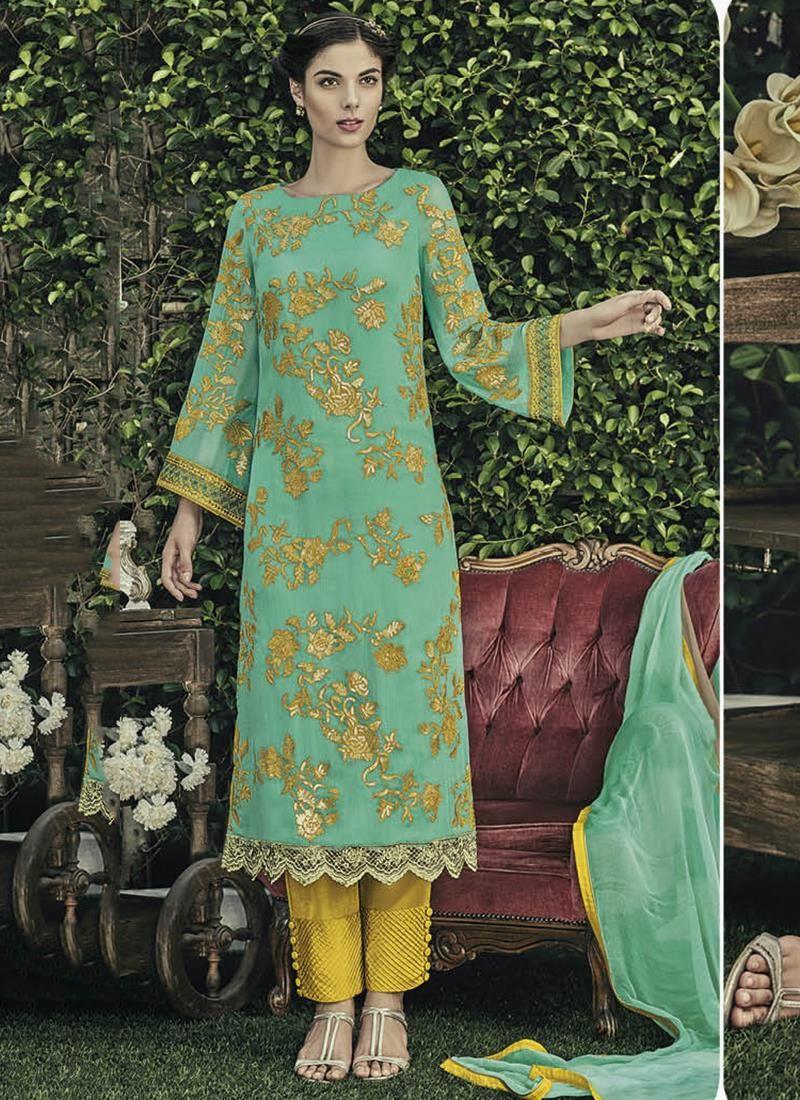 Salwar kameez in latest designs. Buy indian salwar kameez. Buy this opulent sea green designer straight salwar kameez.