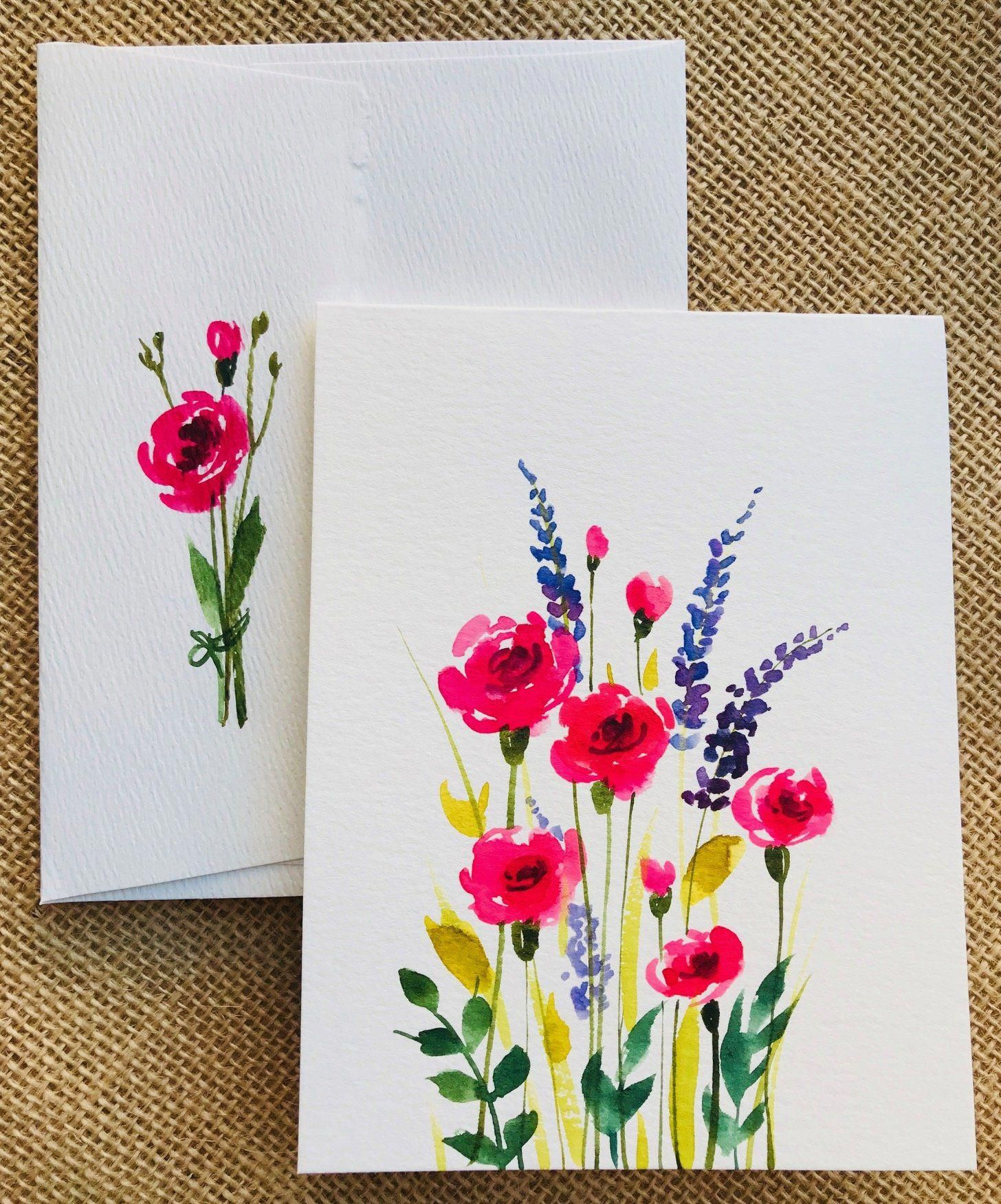 Birthday Card Painting : birthday, painting, Check, Beautiful, Collection, Painted, Greeting, Cards, Flowers!, Quality…, Watercolor, Cards,, Flower, Drawing