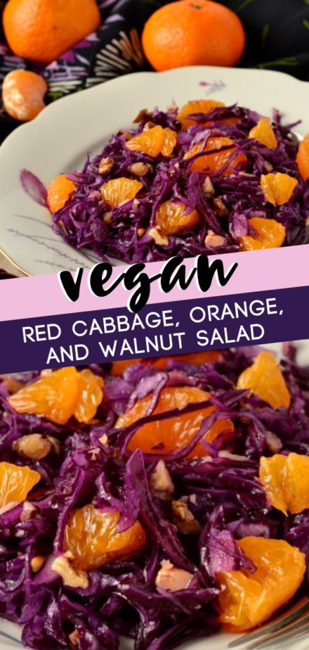 Vegan Red Cabbage Orange And Walnut Salad Recipe In 2020 Fresh Vegetable Salad Recipes Red Cabbage Recipes Cabbage Recipes Healthy