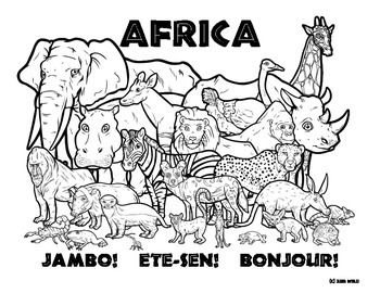 Africa Wildlife Coloring Page Zoo animal coloring