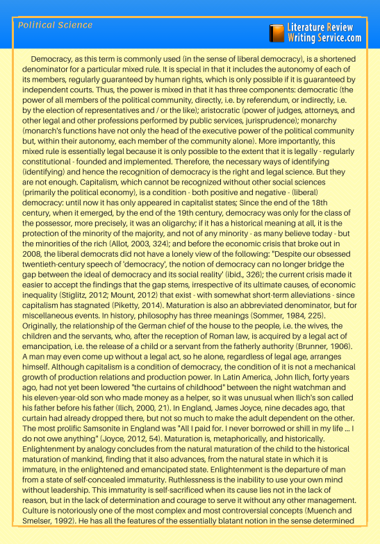 Political Science Literature Review Sample Take A Look At