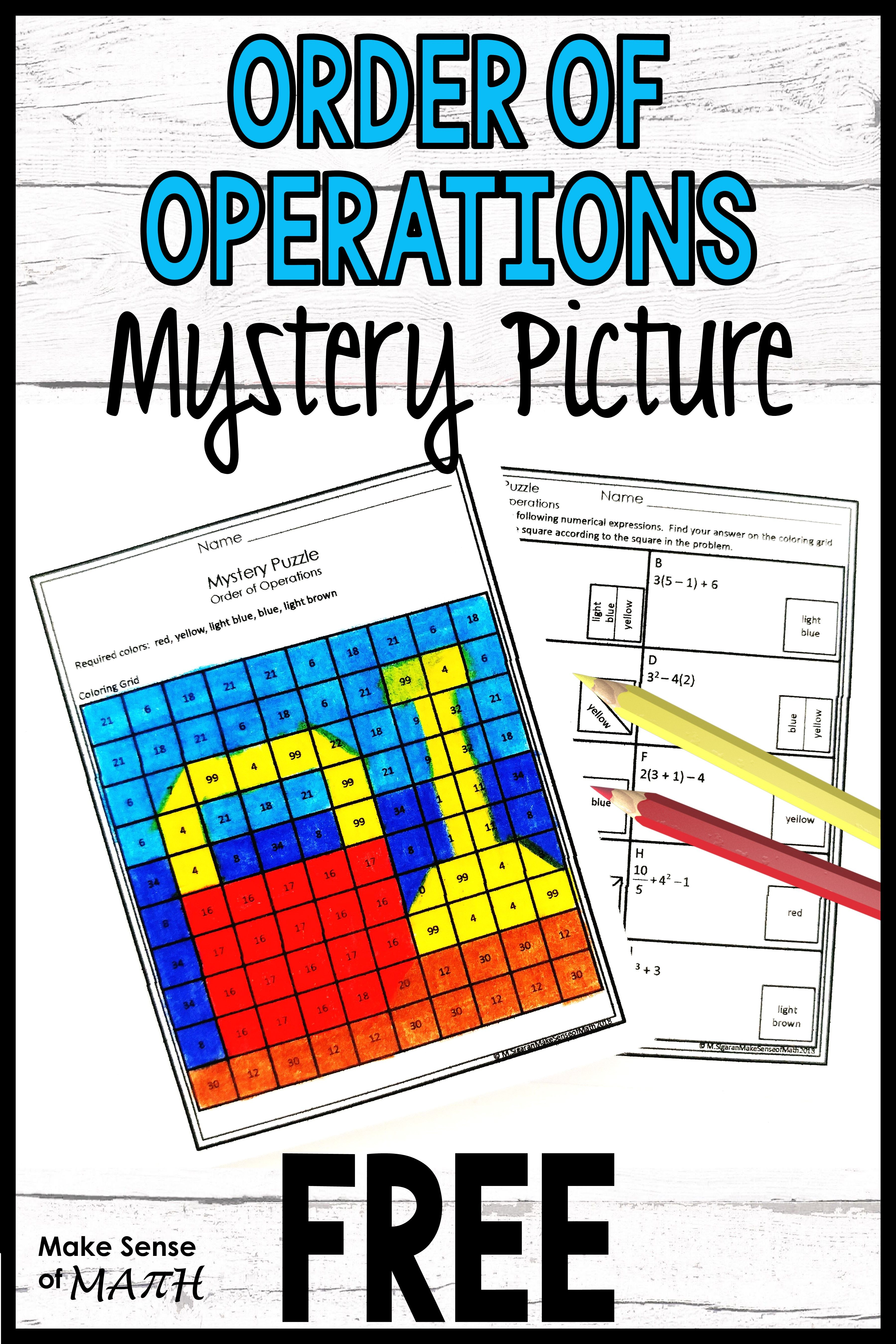 Order Of Operations Free Activity In