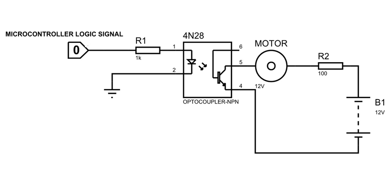 4N28 Optocoupler Example circuit diagram | Circuits in 2019