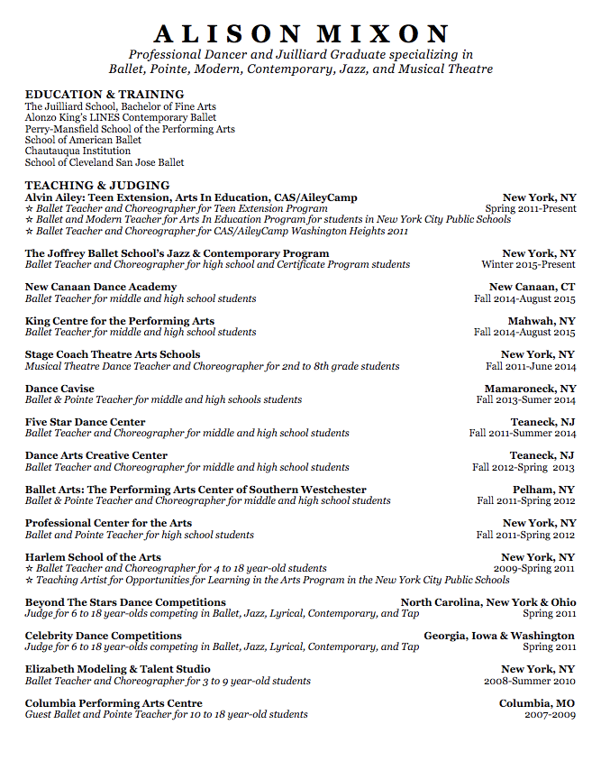 dance teacher resume cv curriculum resume