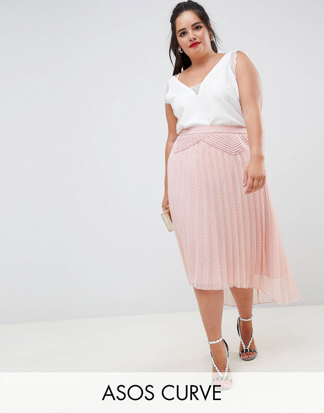 0842fbb20d DESIGN Curve dobby pleated high low midi skirt with pintuck detail ...