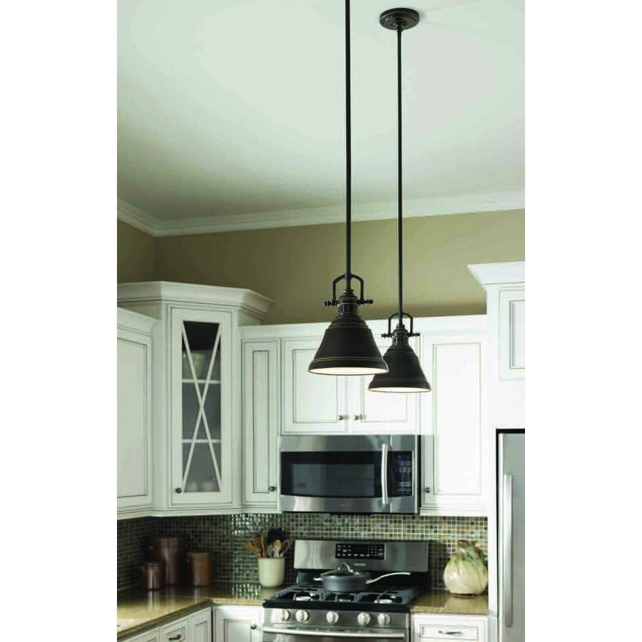 Kitchen Island Single Pendant Lighting: Island Lights From Lowes-- Allen + Roth 8-in W Bronze Mini