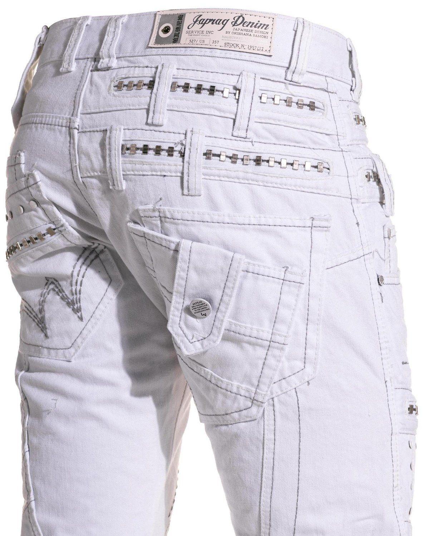 Japrag - Jeans homme double ceinture blanc - Couleur : Blanc Taille ...