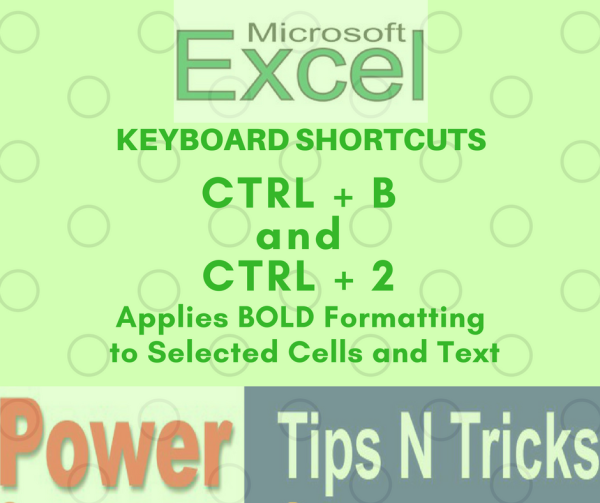 Excel Keyboard Shortcut to Bold selected Cell or Text
