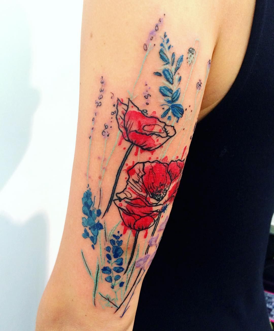Watercolor flowers tattoo. Acuarela tatuaje flores. - By Ana ...