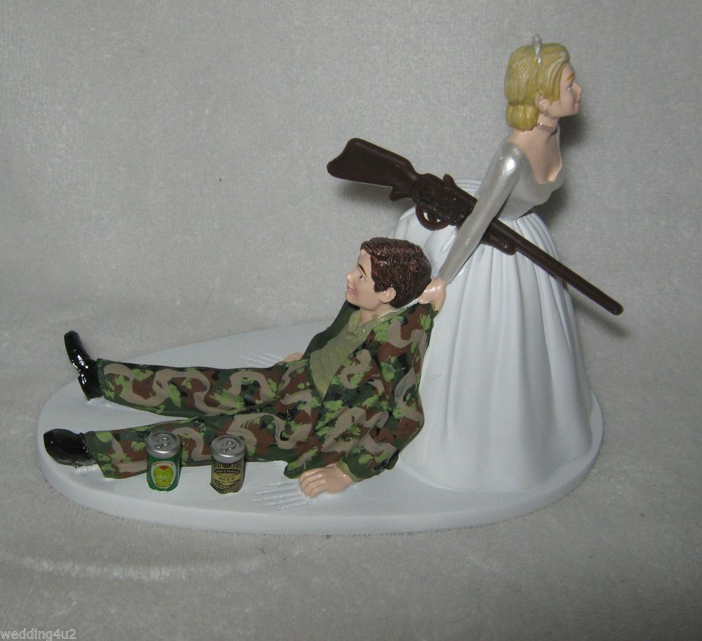 redneck deer fishing hunting wedding cake toppers wedding reception camo groom 2 cans 19131