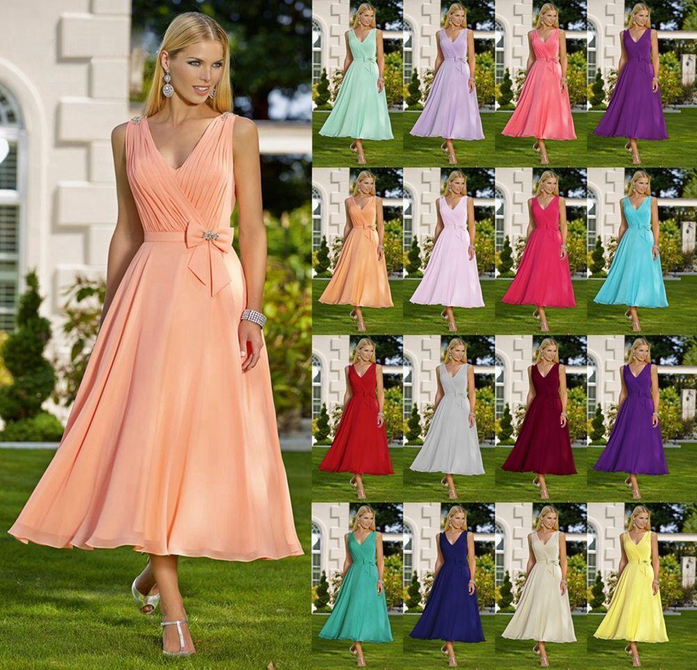 Feminine tea length chiffon occasion wedding bridesmaid dress