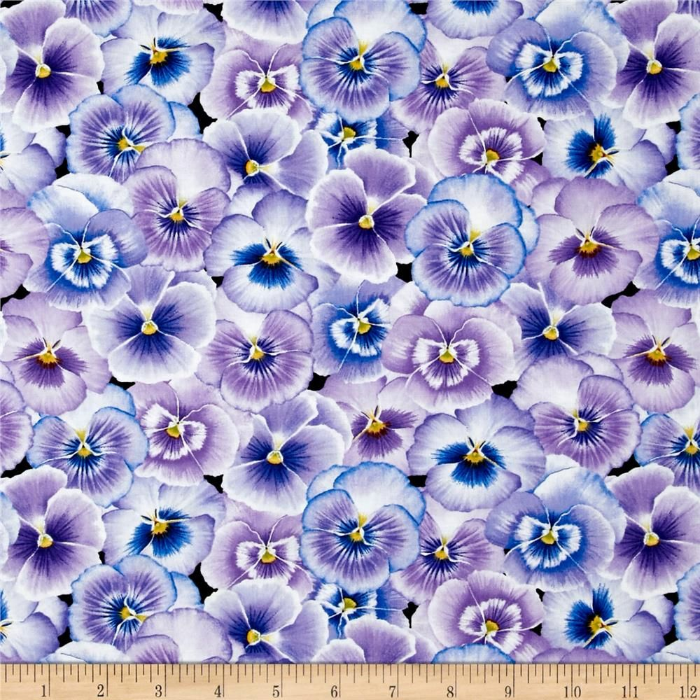 Pretty As A Pansy Packed Pansy Flower Purple Blue From Fabricdotcom Designed By Jane S Garden For Henry Glass Co This Pansies Flowers Pansies Blue Quilts