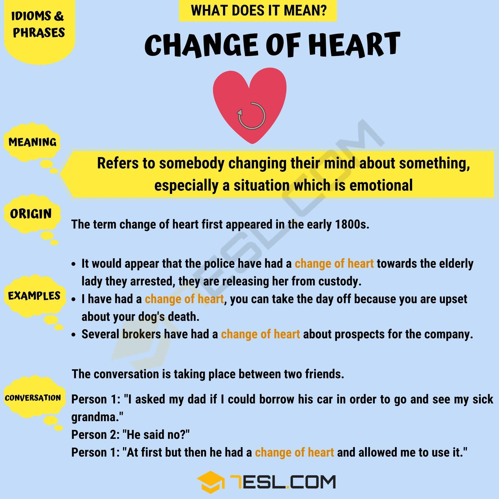 Change Of Heart What Does The Popular Phrase Change Of