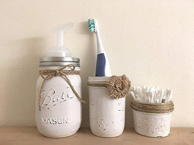 Three Piece Set Rustic Mason Jar Bathroom Storage Mason Jar