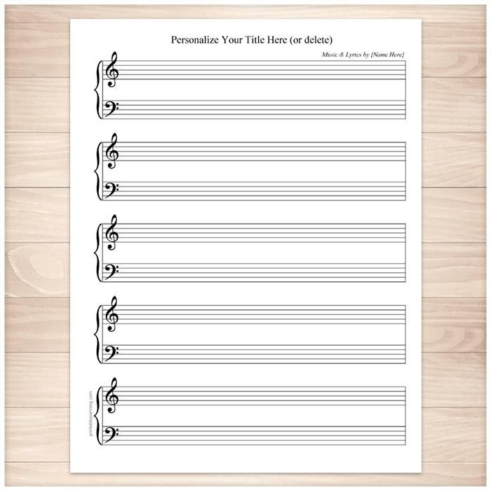 Personalized Blank Piano And Vocals Sheet Music Printable At