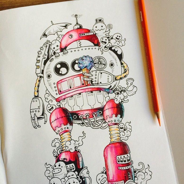 libro de colorear para adultos Doodle Invasion-8 | COLOREAR ...