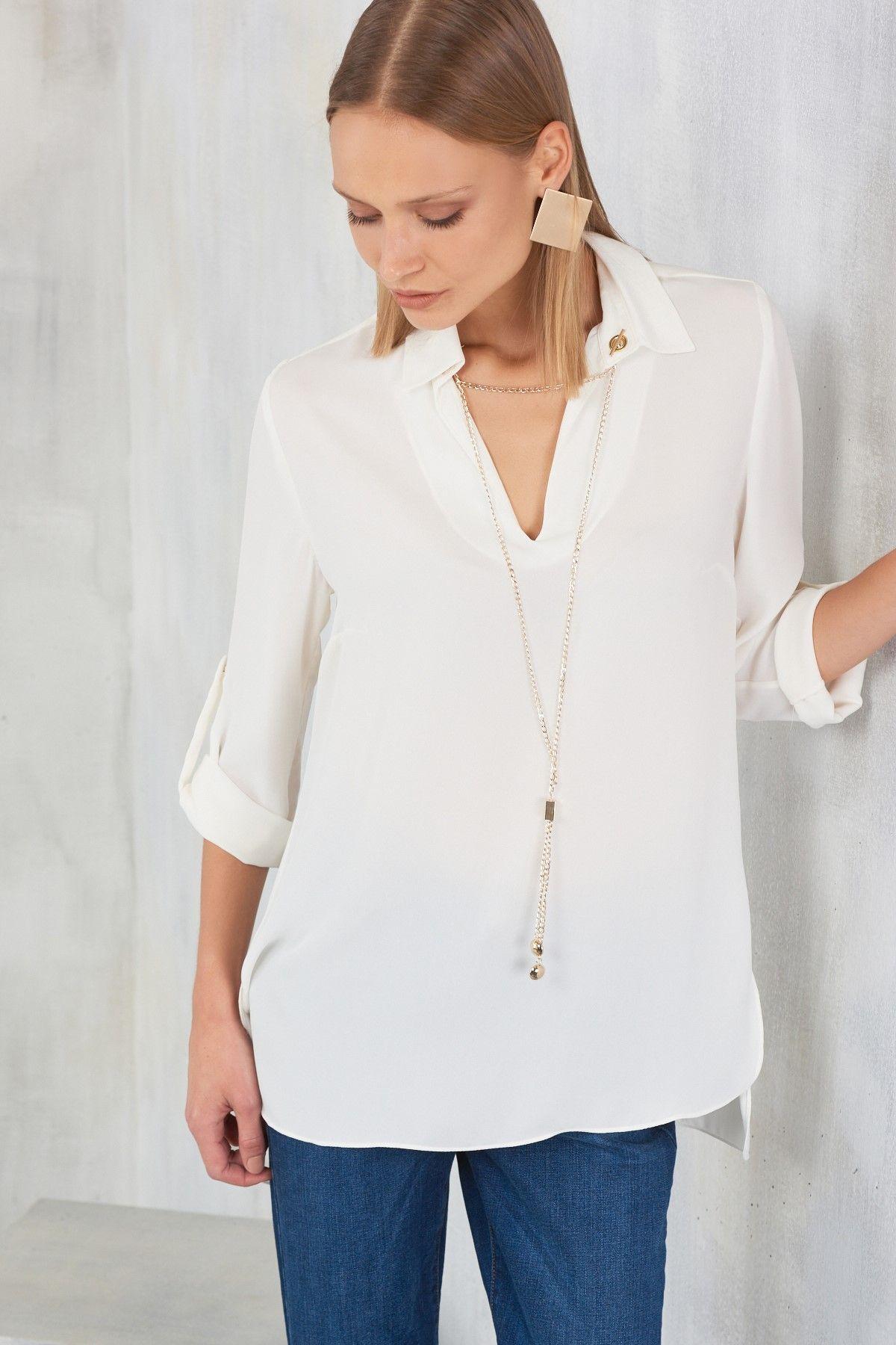 Zincir Aksesuarli Beyaz Bayan Gomlek Modelleri Sik Kombinler Icin Moda Stilleri Gomlek Moda