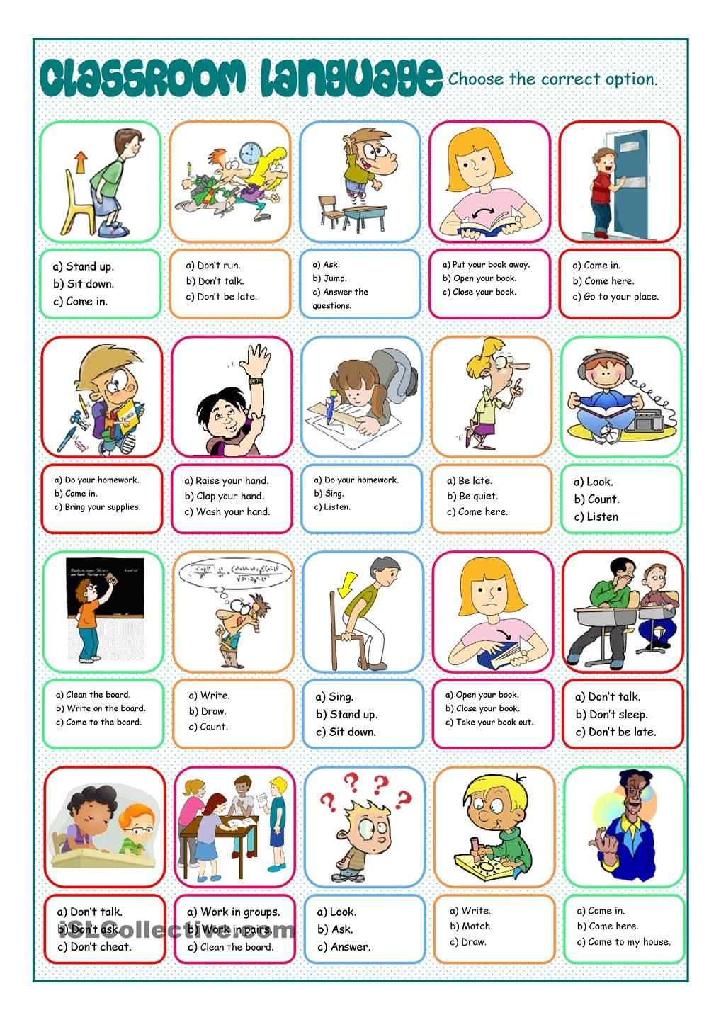 Classroom Ideas And Activities : Classroom language multiple choice resource for english