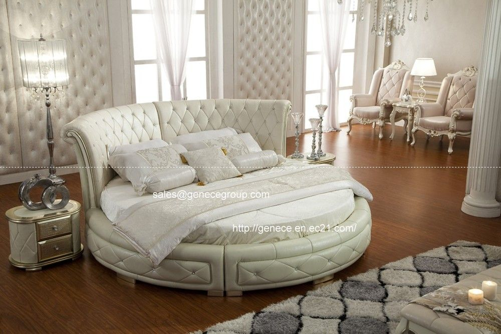 high class top grain leather round bed king size bed frame
