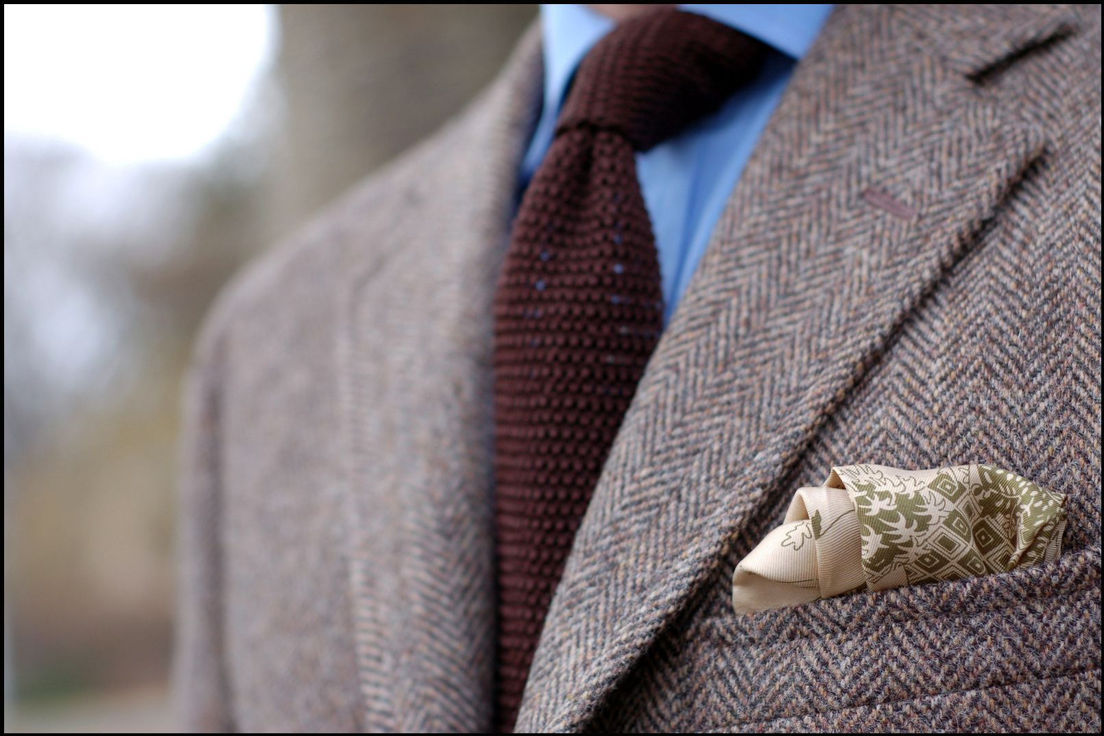 With-Drake's-knit-tie-and-Holland-Holland-silk-square-harris-tweed
