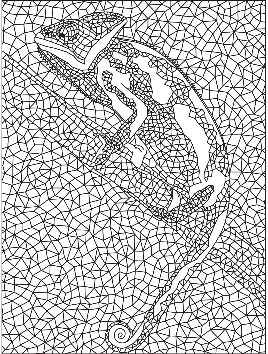 Geometric Lizard colouring page