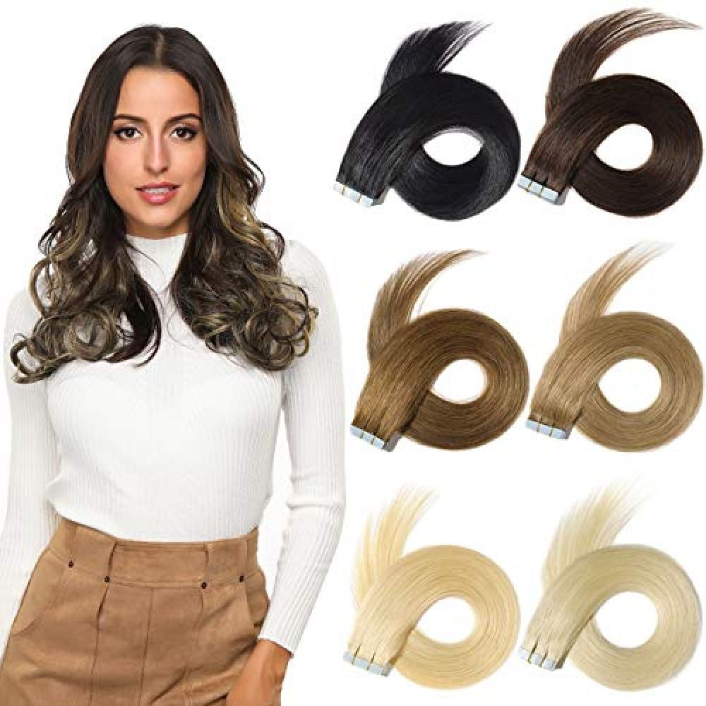 ROSEBUD Tape In Hair Extensions REMY Human Hair, Secure