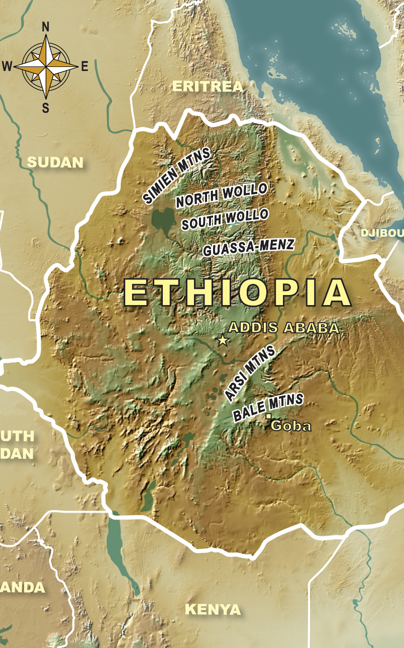 Ethiopia Mountain Ranges ©Eureka Cartography, Berkeley, CA