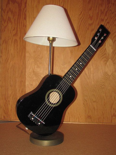 Child's Acoustic Guitar Lamp Black by NaturalFibers4u on Etsy, $60.00