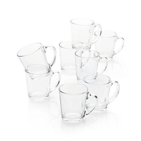 Moderno Clear Glass Coffee Mug, Set of 8 | Clear glass coffee mugs, Glass coffee mugs, Mugs set
