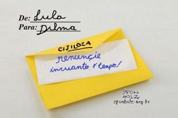 Lula envia carta para Dilma
