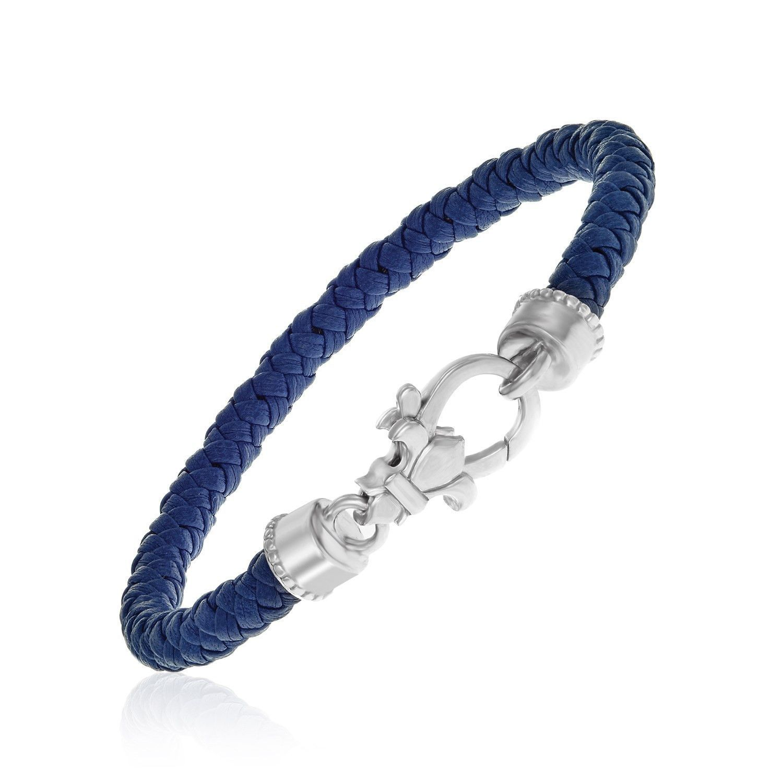 Sterling Silver Dark Blue Braided Leather Bracelet