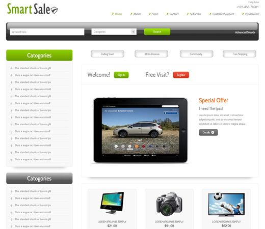 Smart Sale Free #Responsive #HTML5 #CSS3 #Mobileweb Template - for sale template free