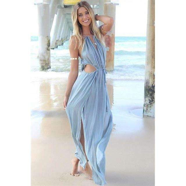 3dbc9c964f Splash your summer with this bohemian beach maxi dress. Made of broadcloth