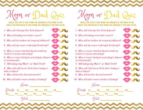 Baby Shower Game Mom Dad Quiz Pink Gold In 2019 Products Baby