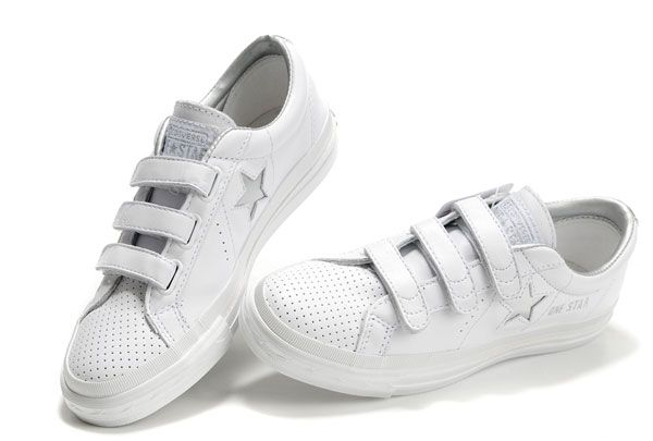 White One Star Silver Star Velcro Low