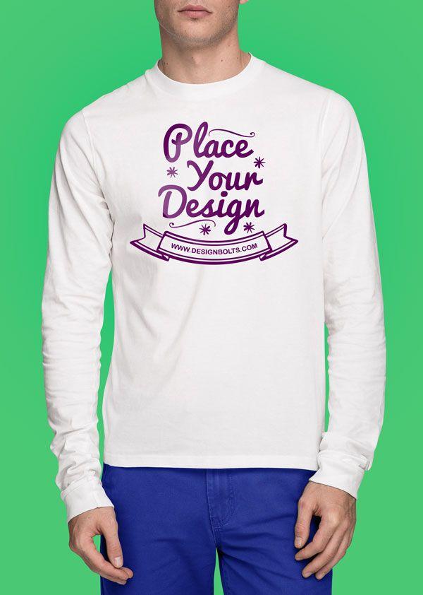 Download Long Sleeve T Shirt Front Back Mockup Mockupworld Shirt Mockup Shirt Template Cool T Shirts