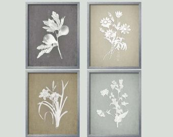 Gray Botanical French Country Wall Art Collection Prints Grey Farmhouse Style Decor Rustic